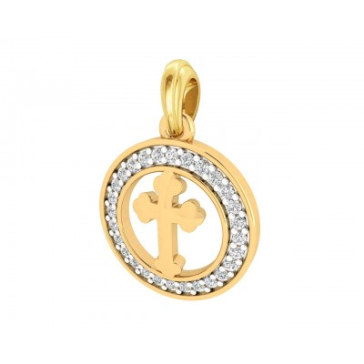 Cross 12mm charm in hallmarked Gold with round brilliant diamonds